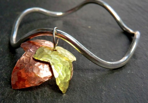 Mother Ivy Double Bangle. Leaf, sterling silver, copper, brass.