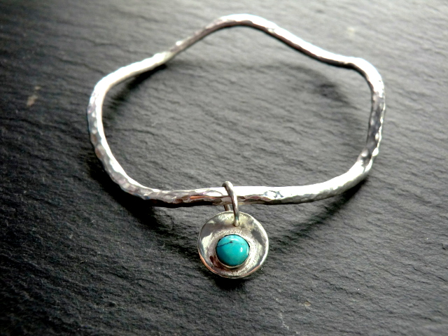 Lagas Bangle. Sterling silver. Gemstone charm.