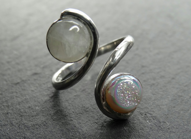 Tristan ring. sterling silver, resizeable, gemstone . Fully adjustable