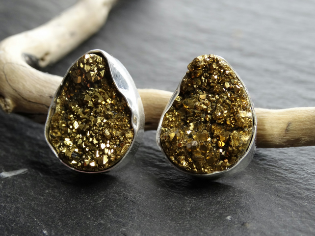 Gold pear shaped druzy studs, set in sterling silver