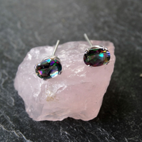 Mystic fire faceted topaz studs