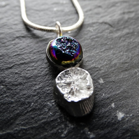 Titanium peacock druzy and cast sterling silver shell from Perranporth Beach