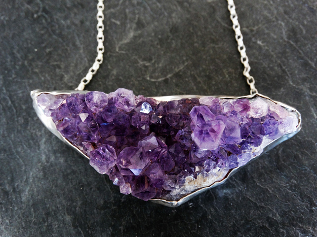Large statement necklace. Amethyst geode, rock, cluster