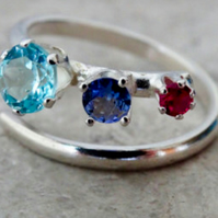 Teyr Merry Maidens ring. Topaz, tanzanite and ruby
