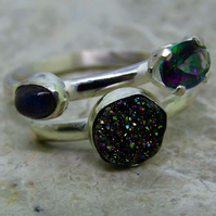 Merry Maidens Ring. Sterling silver with mystic fire topaz, druzy & labradorite