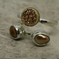 Merry Maidens Ring. Sterling silver set with gold druzy and pearls