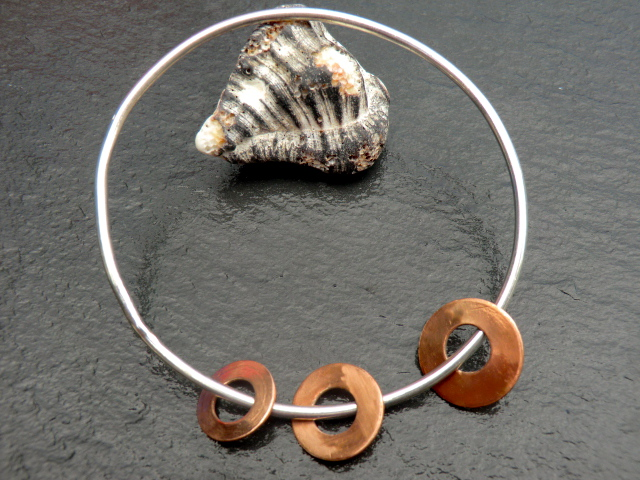 Three Sisters Bangle, sterling silver and copper discs