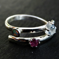 Merry Maidens Ring with opal, cubic zirconia and ruby