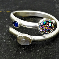 Merry maidens ring, labradorite, druzy and sapphire