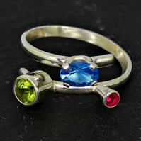 Adjustable ring - Topaz, peridot, ruby ring - Gemstone ring - Leo birthstone - S