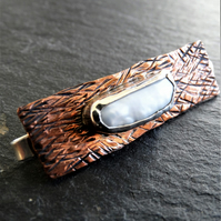 sterling silver, copper and pearl tie clip