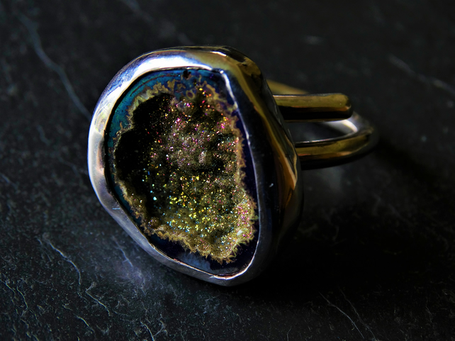 Large statement druzy resizeable, adjustable ring.Peacock, titanium drusy. Geode