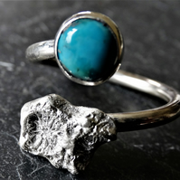 Cast coral chip tristan ring- Turquoise