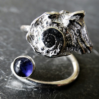 Tresor cast shell and iolite tristan ring