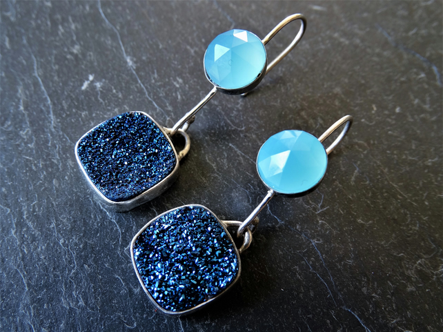 Chalcedony and blue druzy drop earrings