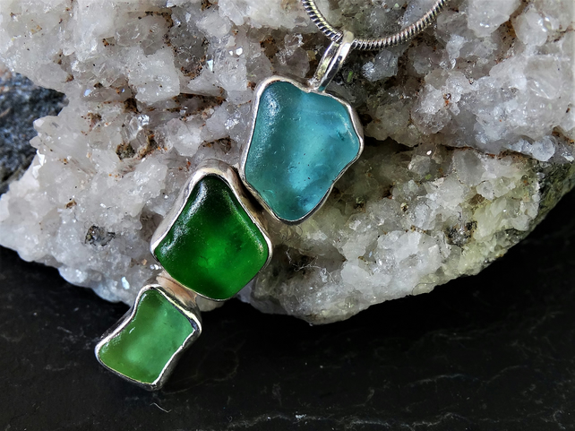 Three colour green, turquoise sea glass pendant