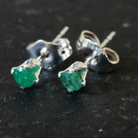 sterling silver emerald studs