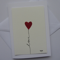 Red Heart Blank Card