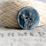 Thyme Button, Ceramic Button, Blue Button, Large Round Ceramic Button