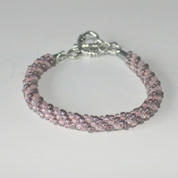 Pastel Shades Seed Bead Kumihimo Bracelet with Flower Toggle Clasp