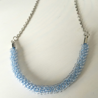 Blue Beaded Kumihimo Chain Necklace