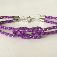Purple Knotted and Dotted Kumihimo Bracelet