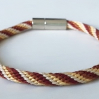 Natural Earthy Tones Cord Kumihimo Bracelet with Stylish Clasp