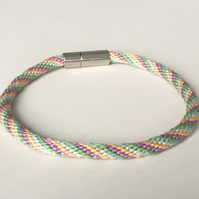 Pastel Shades Kumihimo Cord Bracelet with Stylish Silver Clasp