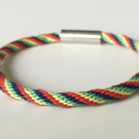 Rainbow Pride  Kumihimo Bracelet with Stylish Clasp Boho