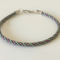 "Boho stackable Kumihimo ""Skinny"" Cord Spots and Stripes Pattern"