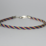 "Kumihimo ""skinny"" Cord in Purple Pink Blue and Yellow Stripes Unique"