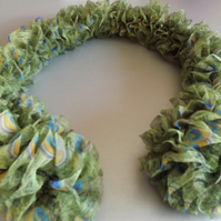 Peacock Ruffle Scarf.  Hand Knitted Peacock Feather Fabric Scarf