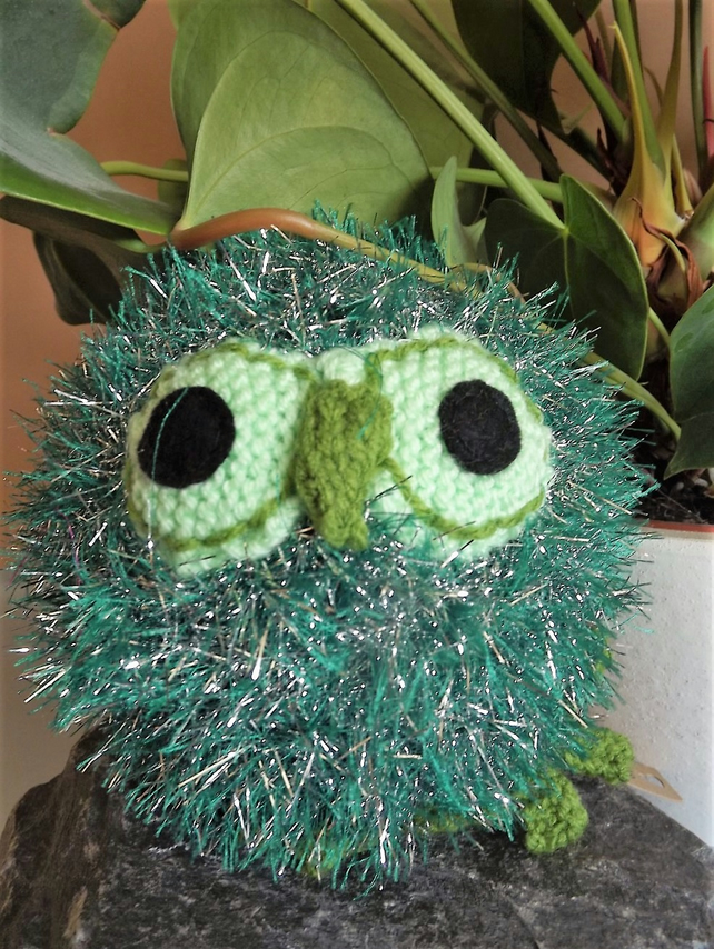 Sparkler the Owl. Green Tinsel. Hand knitted soft toy, graduation gift