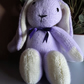 Lilac Rabbit, hand knitted soft toy.