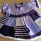 Patchwork hand knitted Dress in shades of purple. 3-6 months.