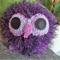 Sparkler the Owl. Purple. Hand knitted soft toy, graduation gift.