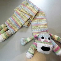 Childs Hand Knitted Dog Scarf in Light Pastel Shades.