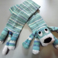 Childs Hand Knitted Dog Scarf in Shades of Blue