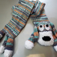 Childs Hand Knitted Dog Scarf in Mixed Shades of Blue, White and Tan