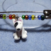 Dog Pin. Black and white Bull Terrier. Dog Brooch. Kilt Pin. Dog jewellery.