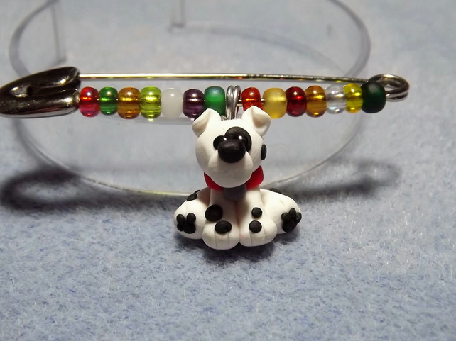 Dog Pin. Black and white Dalmation. Dog Brooch. Kilt Pin. Dog jewellery.