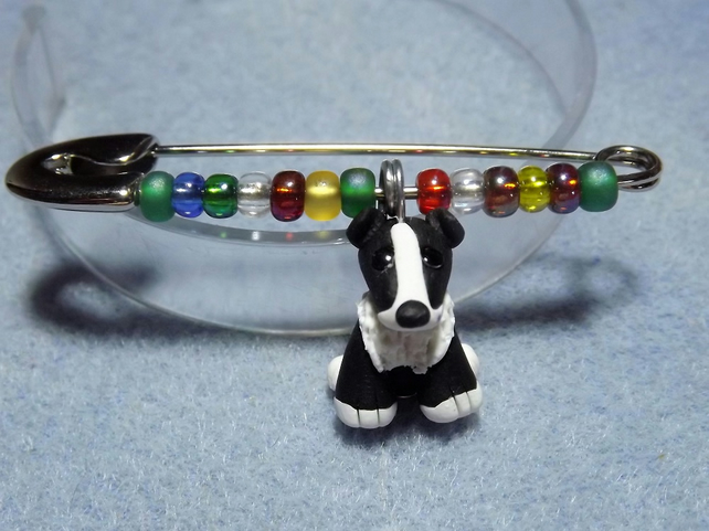 Dog Pin. Black and white Sheep Dog. Dog Brooch. Kilt Pin. Dog jewellery.
