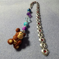 Silver Plated. Flower Red Crystal Bookmark with Beads and Brown Monkey Charm