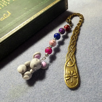 Bronze Celtic Bookmark with Rainbow Beads and Mouse Charm