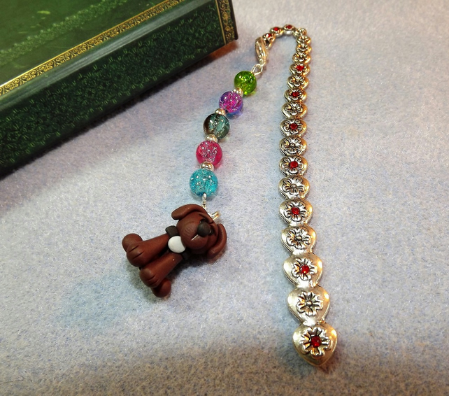 Engraved Silver Plated flower and red crystal Bookmark with Beads and Brown Dog