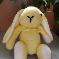 Lemon Yellow Rabbit, hand knitted soft toy.
