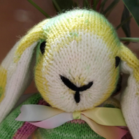 Light Raibow Rabbit, hand knitted soft toy.