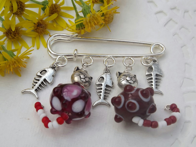 Kilt Pin. Two Red Cats and Fish Bone Charms