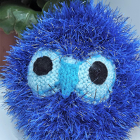 Sparkler the Owl. Blue. Hand knitted soft toy, graduation gift