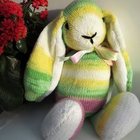 Light Rainbow Rabbit, hand knitted soft toy.